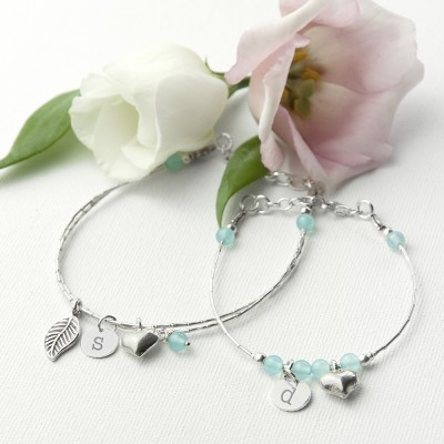 Mother & Daughter Personalised Bracelet With Blue Topaz Stones
