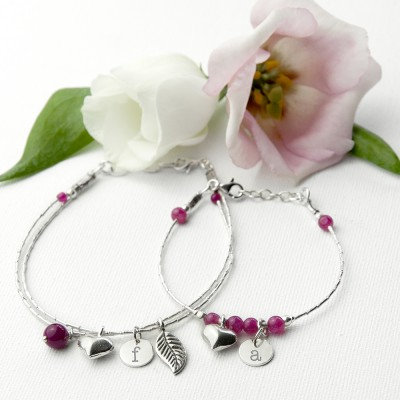 Mother & Daughter Personalised Bracelet With Indian Ruby Stones