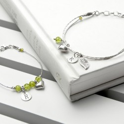 Mother & Daughter Personalised Bracelet With Peridot Stones