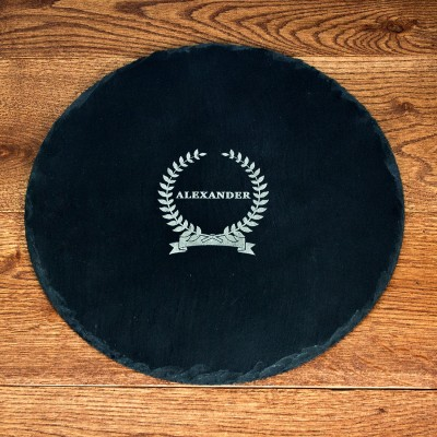 Name Of Honour Round Slate Cheese Board