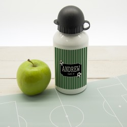 Personalised Boys Football Striped Water Bottle