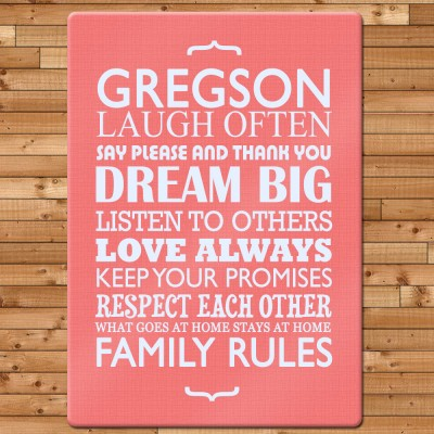 Family Rules Glass Chopping Board