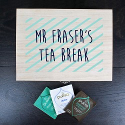 Personalised Teacher's Tea Break Box Stripes Design