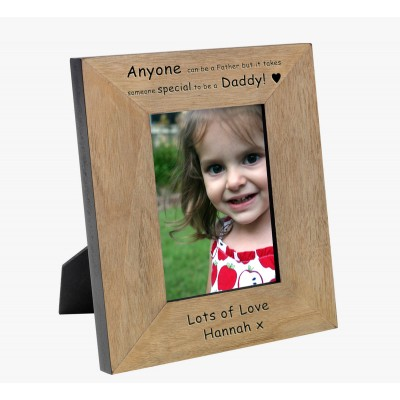 Anyone can be a Father Wood Photo Frame 6x4