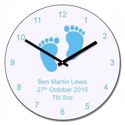Blue baby feet design wall clock