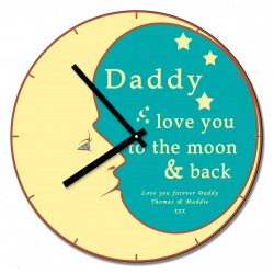 Daddy love you to the moon & back Wall Clock