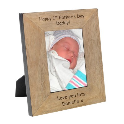 Happy First Fathers Day Wood Frame 6x4