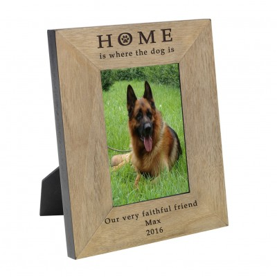 HOME  is where the Dog is Wood Frame 6x4