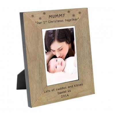 Mummy our 1st Christmas together Wood Frame 6x4