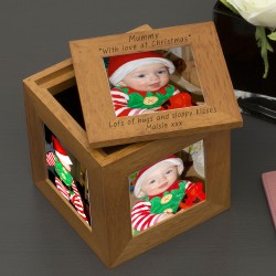 Mummy with love at Xmas Oak Photo Cube