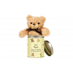 Nursery Scene Teddy in a Tin