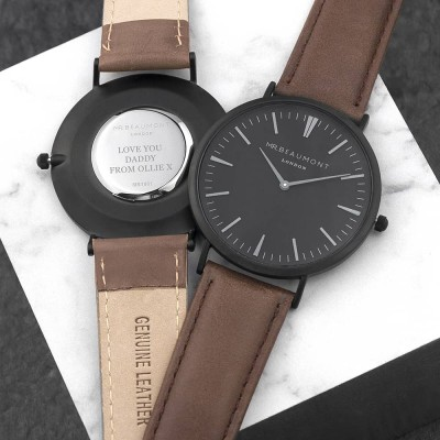 Men's Modern-Vintage Personalised Watch With Black Face in Brown