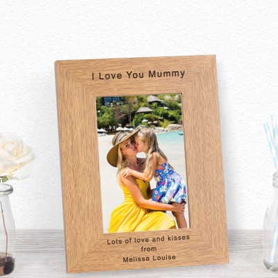 Personalised Any Message Wood Photo Frame 7x5