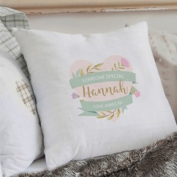 Personalised Floral Heart Cream Cushion Cover