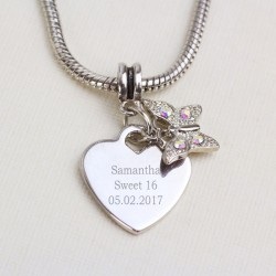 Butterfly Charm Necklace Personalised