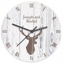 Highland Stag Shabby Chic Wooden Clock
