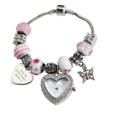 Candy Pink Personalised Watch Charm Bracelet 18cm