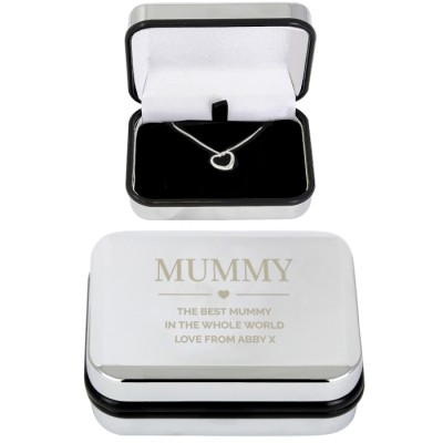 Box and Heart Necklace Personalised