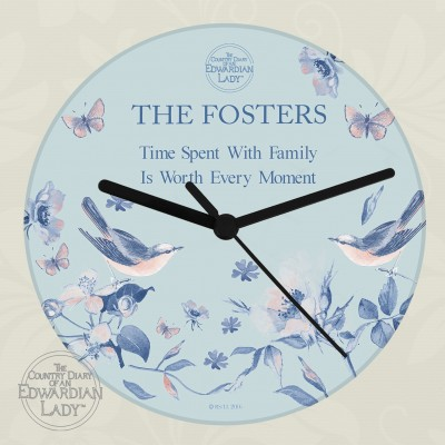 Personalised Country Diary Blue Blossom Glass Clock