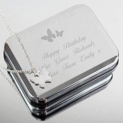Butterfly Necklace and Box Personalised