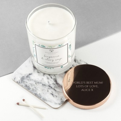 Personalised Bergamot & Clary Sage Candle With Copper Lid