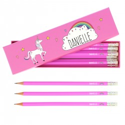 Personalised Unicorn Box of 12 Pink HB Pencils