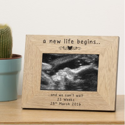 A new life begins Wood Frame 6x4